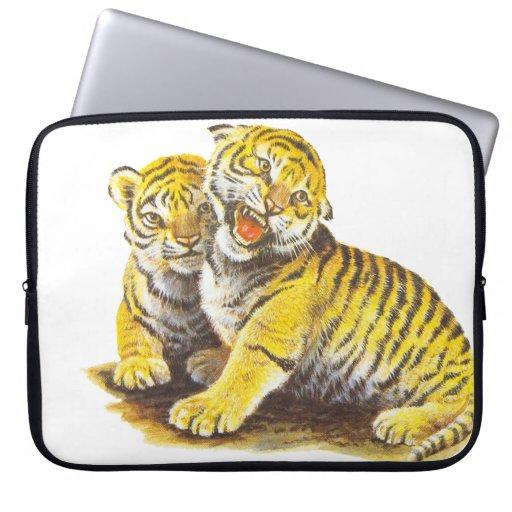 Cute Vintage Tiger Cubs Computer Sleeves