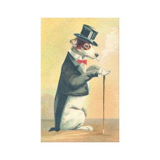 Cute Vintage Top Hat Dog Canvas Print