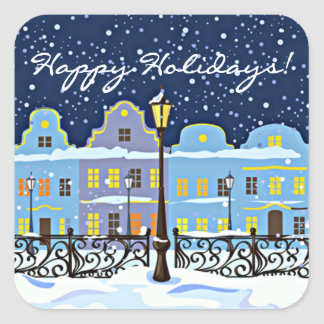 Cute Vintage Town Houses In Snowy Landscape Square Sticker