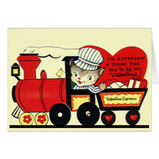 Cute Vintage Train Valentine's Day Card Cards Cat