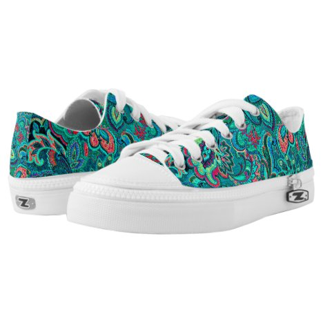 Cute vintage turquoise floral Low-Top sneakers