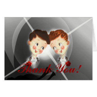 Cute Vintage Two Grooms Gay Wedding Thank You Card