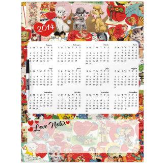 Cute vintage valentines collage 2014 calendar Dry-Erase whiteboards