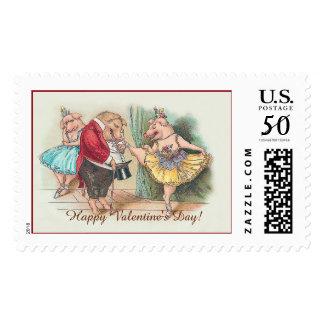 Cute Vintage Valentine's Day Stamp - Dancing Pigs