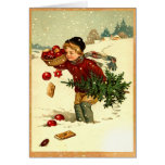 Cute Vintage Victorian Boy Carrying Christmas Tree Cards