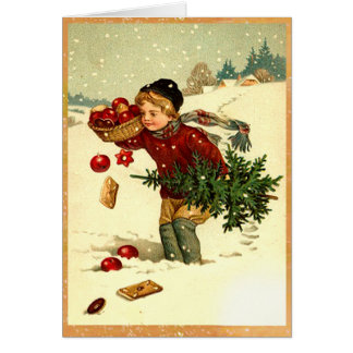 Cute Vintage Victorian Boy Carrying Christmas Tree Card