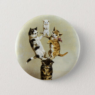 Cute Vintage Victorian Cats Kittens Playing, Humor Button