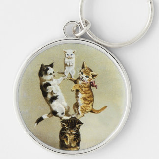 Cute Vintage Victorian Cats Kittens Playing, Humor Keychain