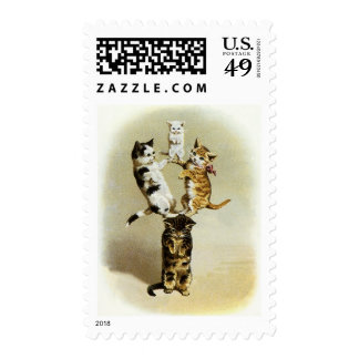 Cute Vintage Victorian Cats Kittens Playing, Humor Postage