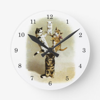 Cute Vintage Victorian Cats Kittens Playing, Humor Round Wall Clock