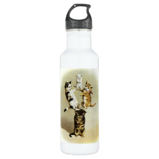 Cute Vintage Victorian Cats Kittens Playing, Humor Stainless Steel Water Bottle