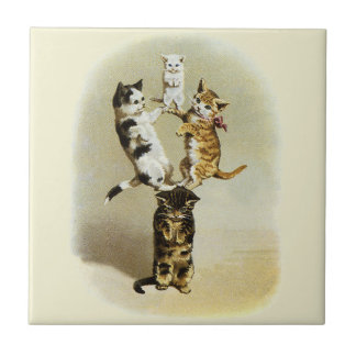 Cute Vintage Victorian Cats Kittens Playing, Humor Tile