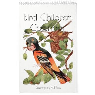 Cute Vintage Watercolor Drawings Bird Children 2 Calendar
