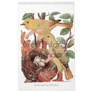 Cute Vintage Watercolor Drawings Bird Children 3 Calendar