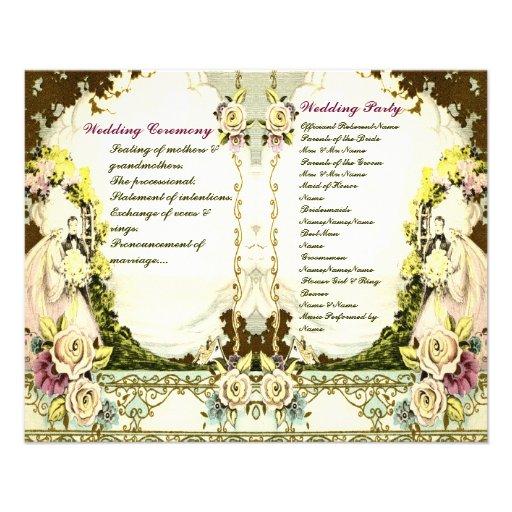 cute vintage wedding program tarjeta publicitaria