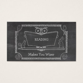 Cute Vintage Wise Owl Reading Chalkboard Business Card