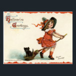 "Cute Vintage Witch on Broom Halloween Postcard<br><div class=""desc"">This cute Halloween postcard has a vintage illustration of a little girl witch flying on a broom with a black cat and the text Halloween Greetings.</div>"