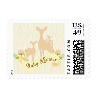 Cute Vintage Woodland Fawn Baby Shower Postage Stamp