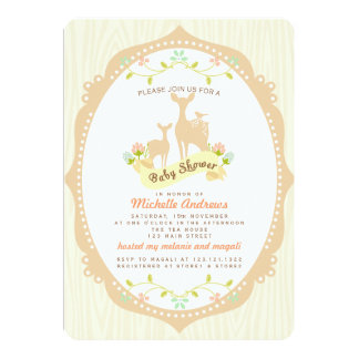 Cute Vintage Woodland Fawns Neutral Baby Shower Custom Announcements