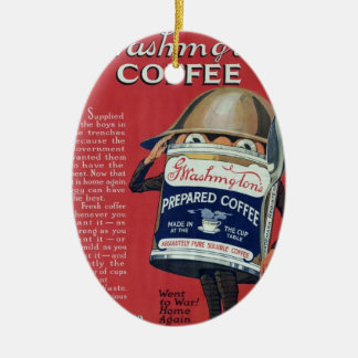 Cute Vintage WWI Coffee Can Double-Sided Oval Ceramic Christmas Ornament