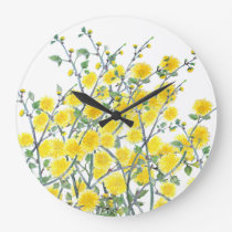 Cute vintage yellow green floral painting pattern large clock