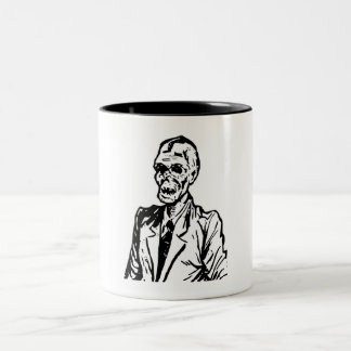 Cute Vintage Zombie Ghoul in a Suit Two-Tone Coffee Mug