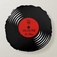 Cute Vinyl Record Valentine Pillow