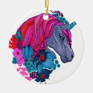 Cute Violet Magic Unicorn Fantasy Illustration Ceramic Ornament