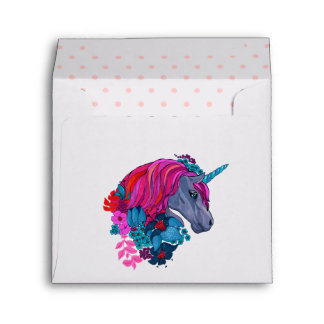 Cute Violet Magic Unicorn Fantasy Illustration Envelope