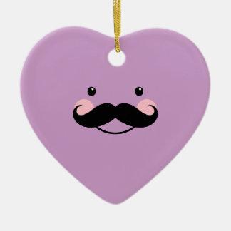 Cute Violet Mustache Smiling Face Heart Ornament