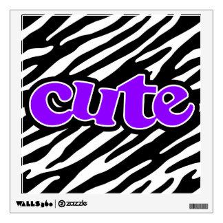 Cute Violet Purple Zebra Stripes Wall Sticker