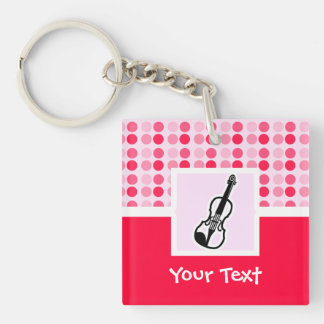 Cute Violin Double-Sided Square Acrylic Keychain