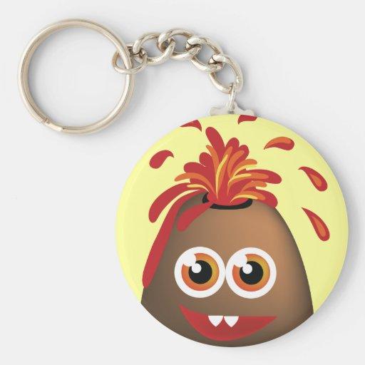 Cute Volcano Basic Round Button Keychain