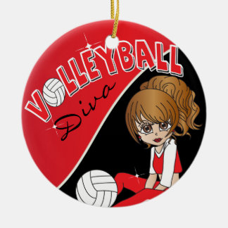 Cute Volleyball Diva Girl in Red Ceramic Ornament