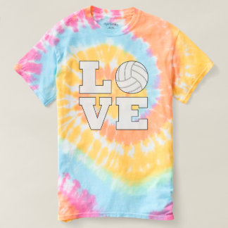 Cute Volleyball Love Pastel Tie-Dye T-shirt