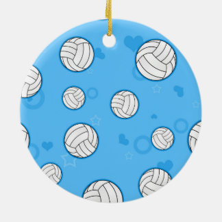 Cute Volleyball Pattern Blue Ceramic Ornament