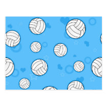 Cute Volleyball Pattern Blue Postcard