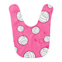 Cute Volleyball Pattern Pink Bib