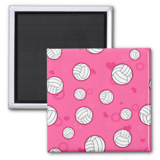 Cute Volleyball Pattern Pink Magnet