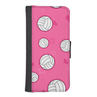 Cute Volleyball Pattern Pink Phone Wallet Case