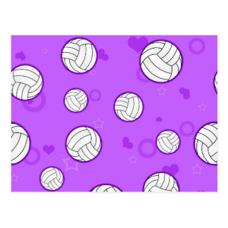Cute Volleyball Pattern Purple Postcard