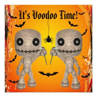 Cute Voodoo Dolls, Bats & Spider Halloween Party Card
