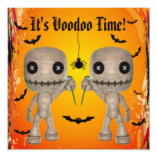 Cute Voodoo Dolls, Bats & Spider Halloween Party 5.25x5.25 Square Paper Invitation Card