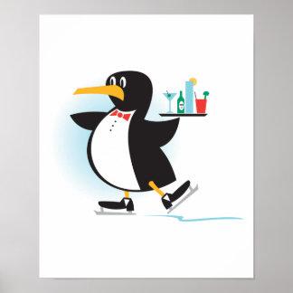 cute waiter penguin on skates poster