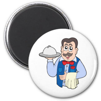 Cute waiter with meal fridge magnet