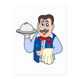 Cute waiter with meal postcard