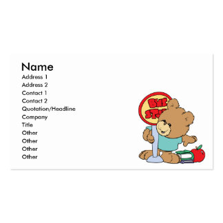 cute waiting at the bus stop school bear business card