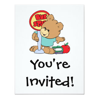 "cute waiting at the bus stop school bear 4.25"" x 5.5"" invitation card"