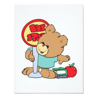 "cute waiting at the bus stop school bear 4.25"" x 5.5"" invitation card"
