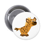 Cute Walking Cartoon Hyena Button